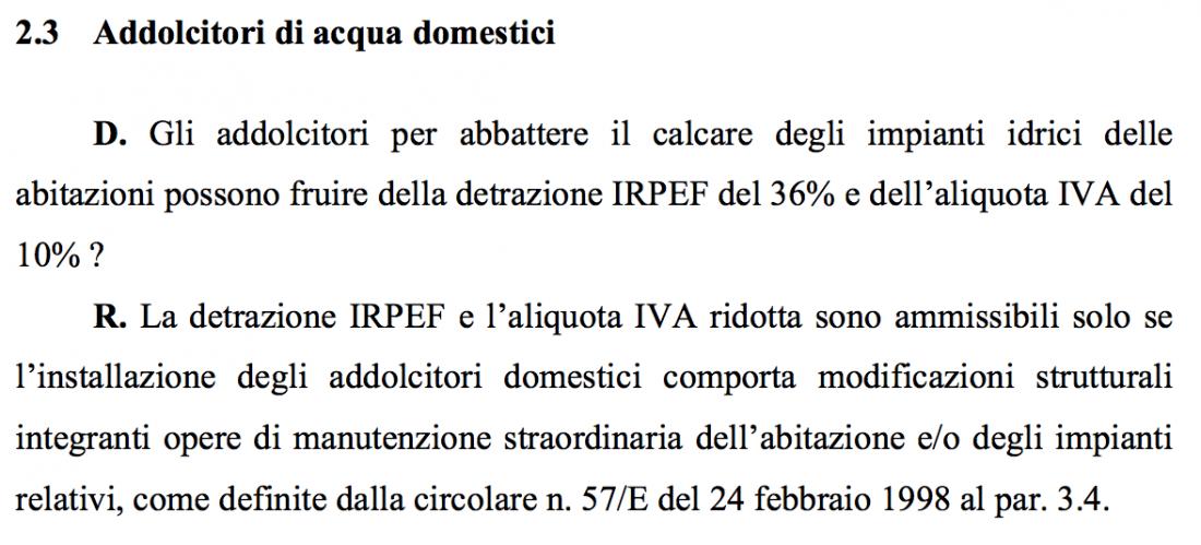 Agevolazioni fiscali enki water impianti di for Iva 10 manutenzione straordinaria